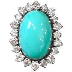 Stunning 14 Karat Gold Turquoise Cabochon Diamond Cocktail Ring