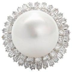1940s South Seas Pearl 1.60 Carat VS Diamond Platinum Cocktail Ring