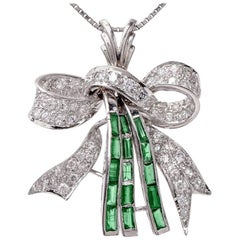 Emerald 4.20 Carat Diamond Platinum Pendant for Necklace