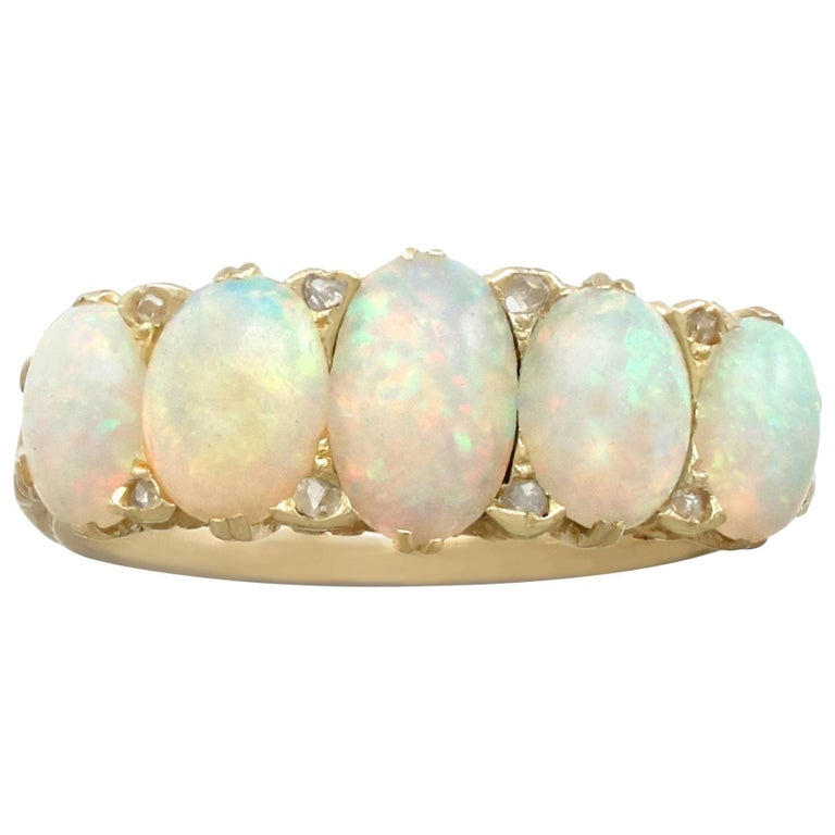 Antique Victorian 1.88 Carat Opal and Diamond, Yellow Gold Five-Stone Ring