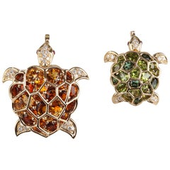 Two Chanel Turtle Brooches
