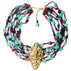 Antiques Liberty Turquoise Coral Gold Necklace