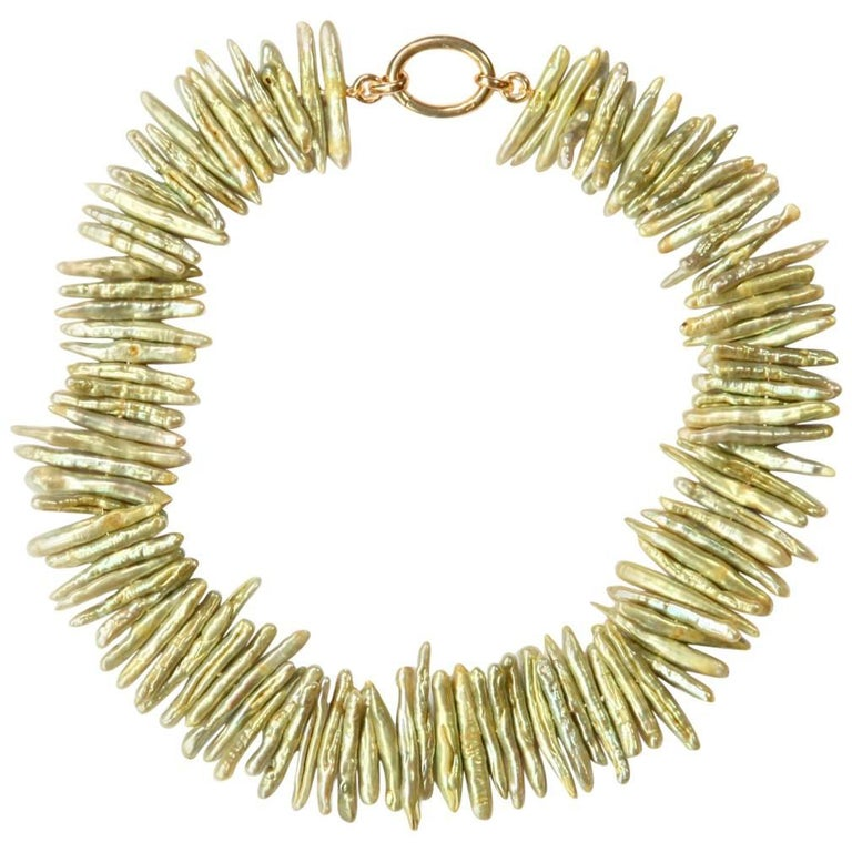 Natural Biwa Pearls Necklace Gold Plate