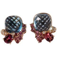 Wendee & Rene 18 Karat Blue Topaz Pink Tourmaline and Diamonds Ear Clip