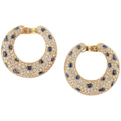 Panthère de Cartier Earrings Sapphire and Diamond