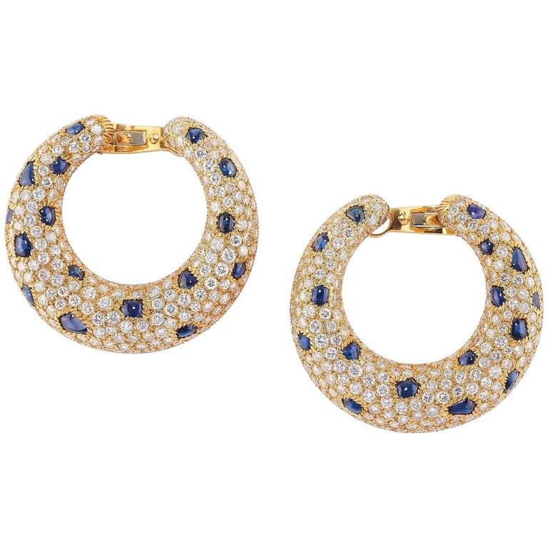 Panthère de Cartier Earrings Sapphire and Diamond