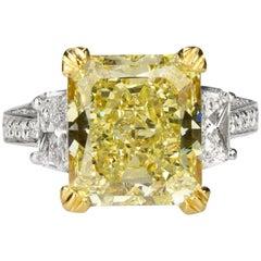 8.24 Carat Fancy Yellow Diamond in Platinum Ring