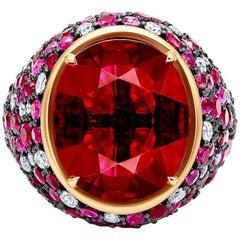 AGI Certified 14.95 Carat Ruby Diamond Ring