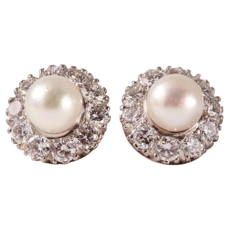 18 Karat White Gold Pearl and Diamonds Earrings