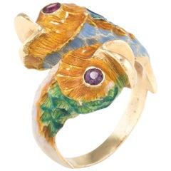 Koi Fish Enamel Ruby Ring Vintage 18 Karat Yellow Gold