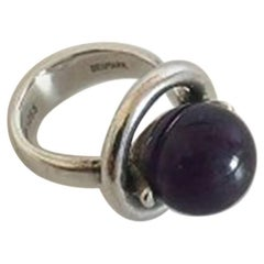 Hans Hansen Sterling Silver Ring with Amethyst