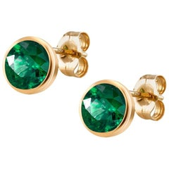 Emerald Bezel Set Gold Stud Earrings