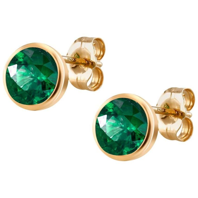 Yellow Gold Emerald Bezel Set Stud Earrings 1.30 Carats