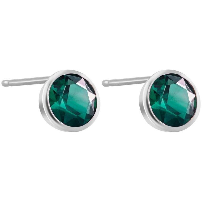 White Gold Bezel Emerald Stud Earrings 0.90 Carats For Sale