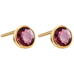 Ruby  Weighing 1.00 Carat Bezel Set Yellow Gold Stud Earrings