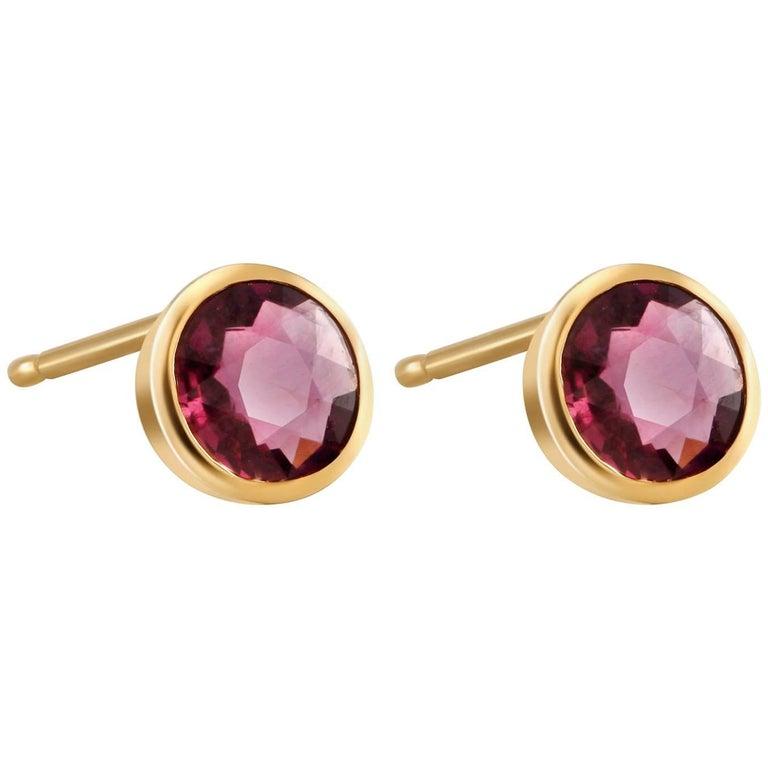 Ruby Bezel Set Yellow Gold Stud Earrings