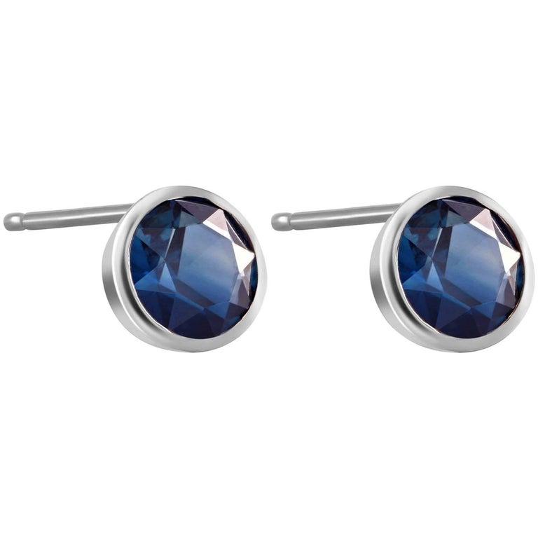 Sapphire Bezel Set White Gold Stud Earrings