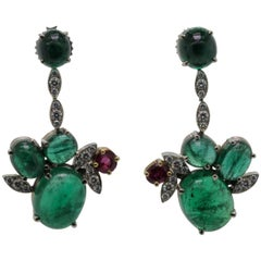 Vintage Emerald Diamond Ruby Dangling Earrings