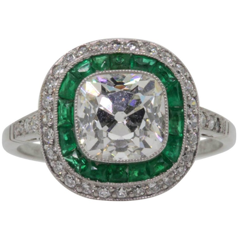 1.91 Carat Cushion Cut Diamond Platinum Ring