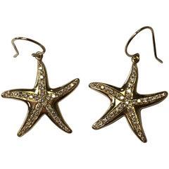 Starfish Diamond Dangle Earrings in 18 Karat Yellow Gold