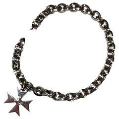 Diamond Asscher Cut Charm Bracelet in 18 Karat White Gold