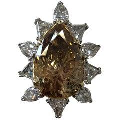 Estate Brown Diamond Pear Shape Cocktail Ring