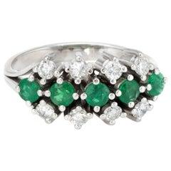 Emerald Diamond Anniversary Band Ring Vintage 14 Karat White Gold