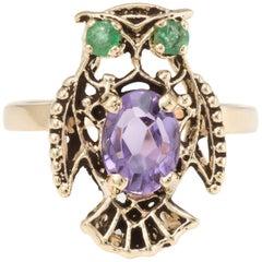 Owl Cocktail Ring Vintage Amethyst Emerald 14 Karat Yellow Gold