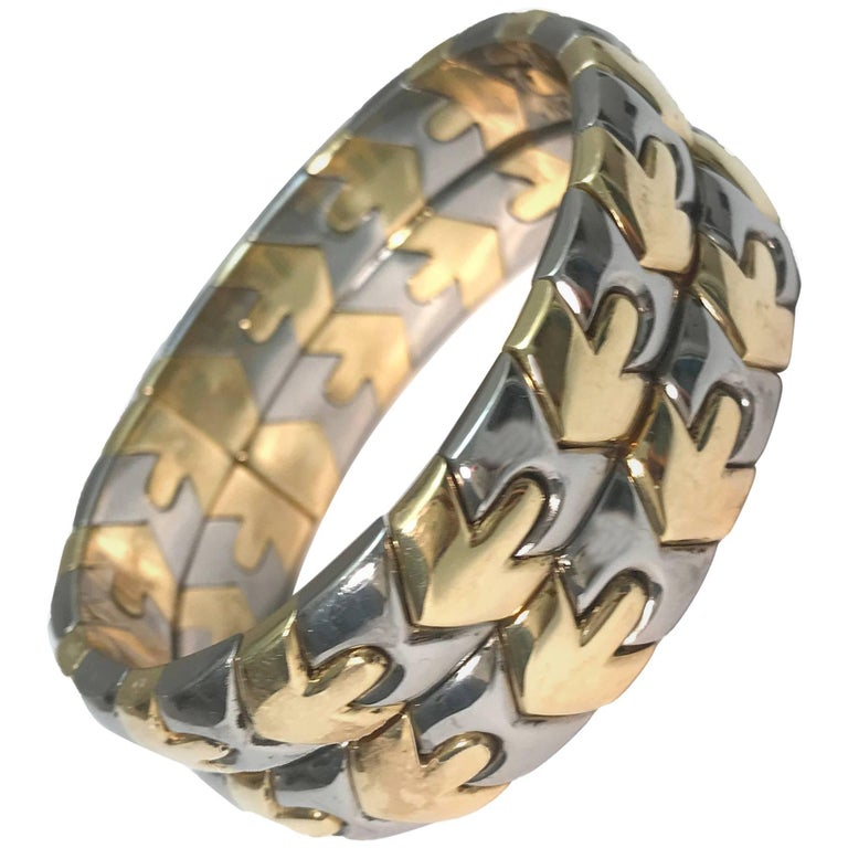 Bulgari 18 Karat Two-Tone Cuff Bangle Bracelet