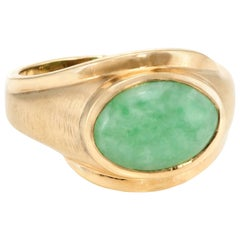 Men's Jade Cocktail Ring Vintage 14 Karat Yellow Gold Estate Fine Jewelry