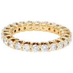 1.80 Carat Diamond Eternity Ring Vintage 14 Karat Yellow Gold