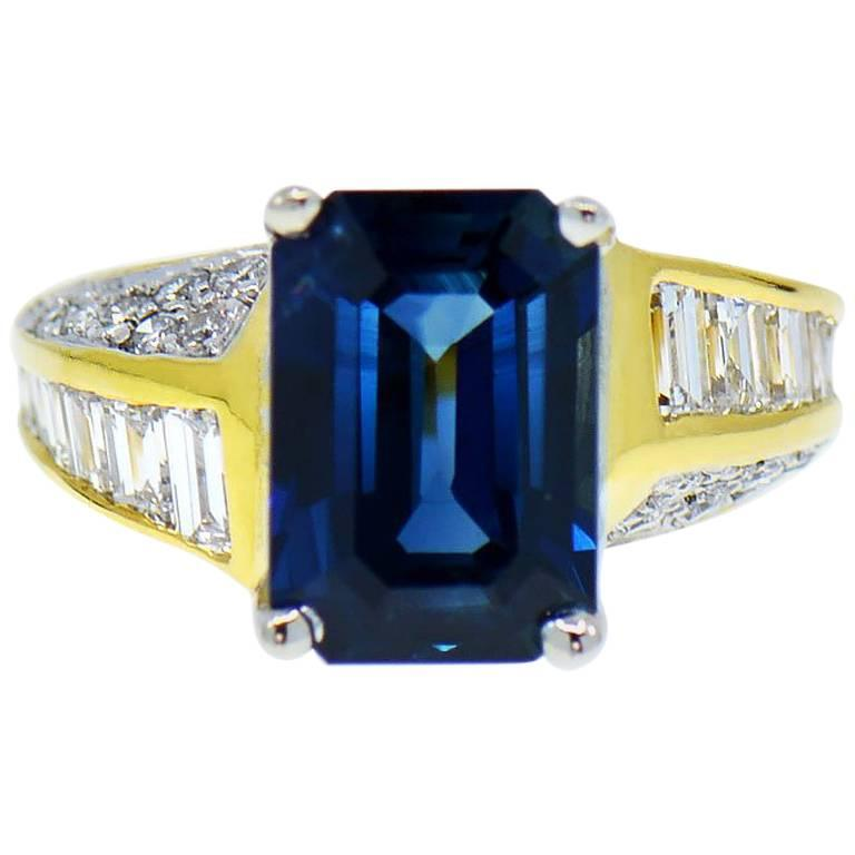 Natural Blue Sapphire and Diamond Ring, 4.95 Carat 18 Karat Yellow Gold