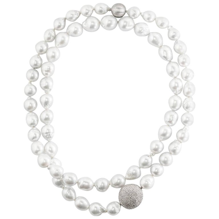 Lygia Demades South Sea Pearl and Diamond Long Sautoir Necklace  For Sale