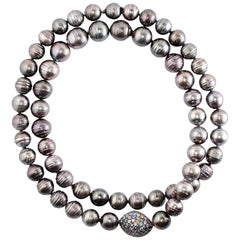 15 - 17.5mm Tahitian Pearl Multi Colored Sapphire Long Necklace