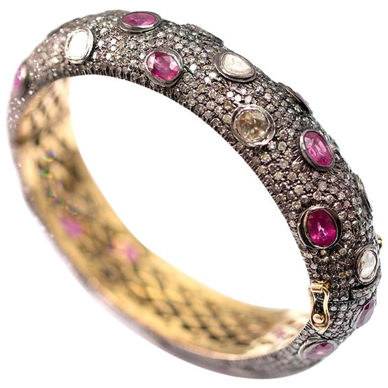 Rose Cut Diamond Ruby Silver and Gold Bracelet