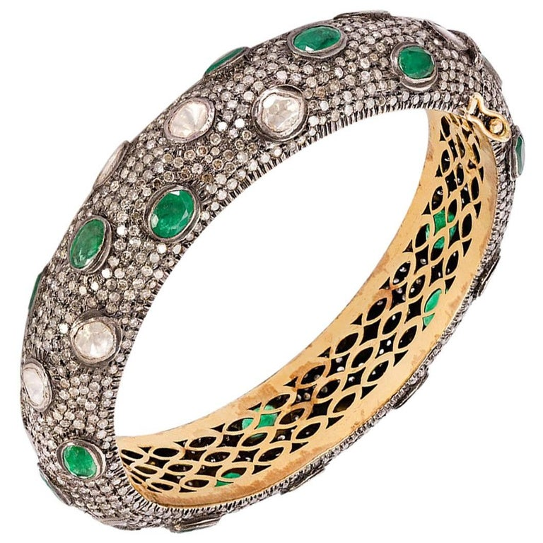 Rose Cut Diamond Emerald Silver and Gold Bracelet For Sale