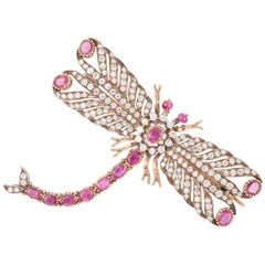 Gold Diamonds and Rubies Dragonfly Brooch