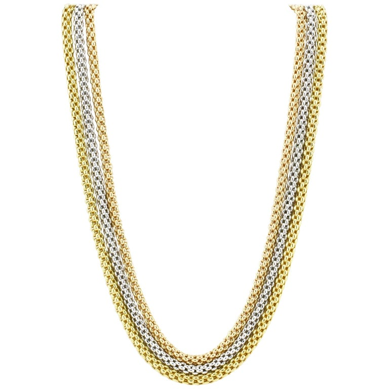 Fope Flex'it 18 Karat Tri-Colored Three Strand Gold Necklace