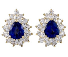 Tiffany & Co. Sapphire and Diamond Gold Ear Clips
