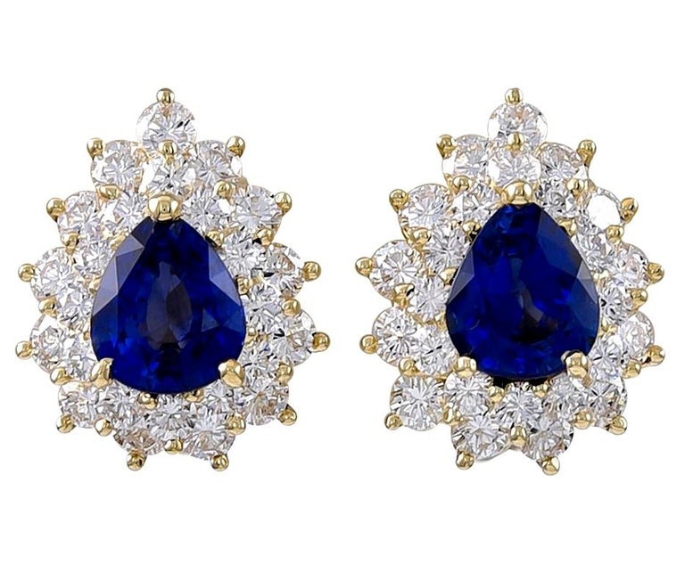 Tiffany & Co. Sapphire and Diamond Gold Ear Clips