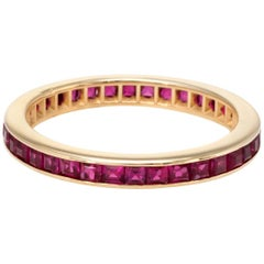 Square Cut Ruby Eternity Ring Vintage 14 Karat Yellow Gold