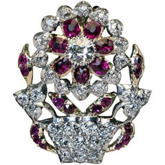 Antique Ruby Diamond Giardinetto Brooch Pendant