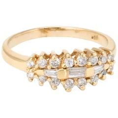 Mixed Cut Diamond Anniversary Band Ring Vintage 14 Karat Gold Estate Jewelry 7.5
