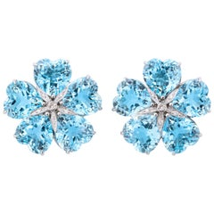 Michael Kanners Bright Blue Topaz Diamond Gold Flower Earclips