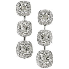 Stunning Cushion Shape Diamond Earrings Set in 18 Gold