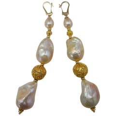 Michael Kneebone Pink Cloud Pearl Granulation Bead Dangle Earrings