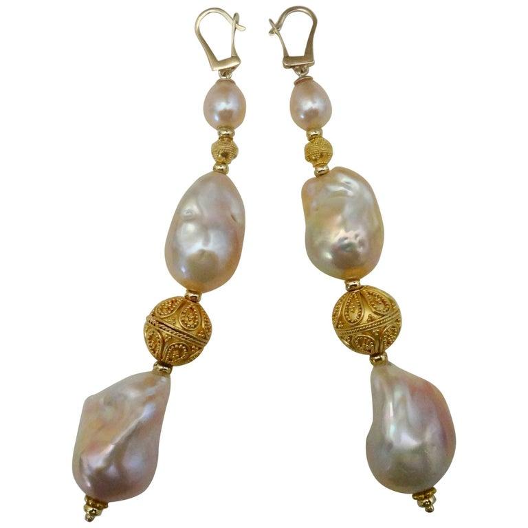 Michael Kneebone Pink Cloud Pearl Granulation Bead Dangle Earrings