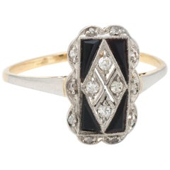 Antique Deco Diamond Onyx Cocktail Ring Vintage 18 Karat Gold Platinum Jewelry 7