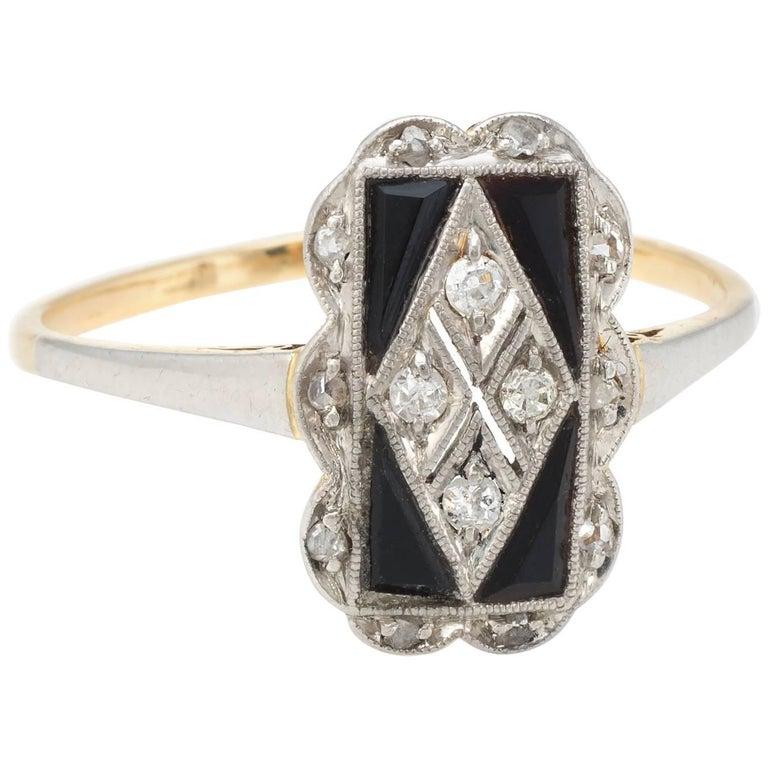 Antique Deco Diamond Onyx Cocktail Ring Vintage 18 Karat Gold Platinum Jewelry 7