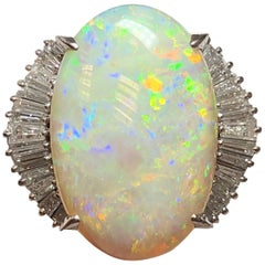 Opal Oval and White Diamond Baguette Cocktail Ring in Platinum